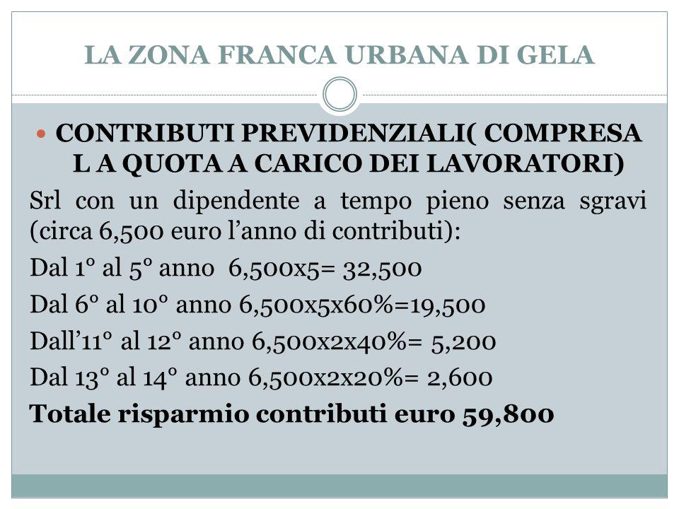LA ZONA FRANCA URBANA DI GELA CONTRIBUTI PREVIDENZIALI( COMPRESA L A QUOTA A CARICO DEI LAVORATORI) Srl con un dipendente a tempo pieno senza sgravi (circa 6,500 euro l'anno di contributi): Dal 1° al 5° anno 6,500x5= 32,500 Dal 6° al 10° anno 6,500x5x60%=19,500 Dall'11° al 12° anno 6,500x2x40%= 5,200 Dal 13° al 14° anno 6,500x2x20%= 2,600 Totale risparmio contributi euro 59,800