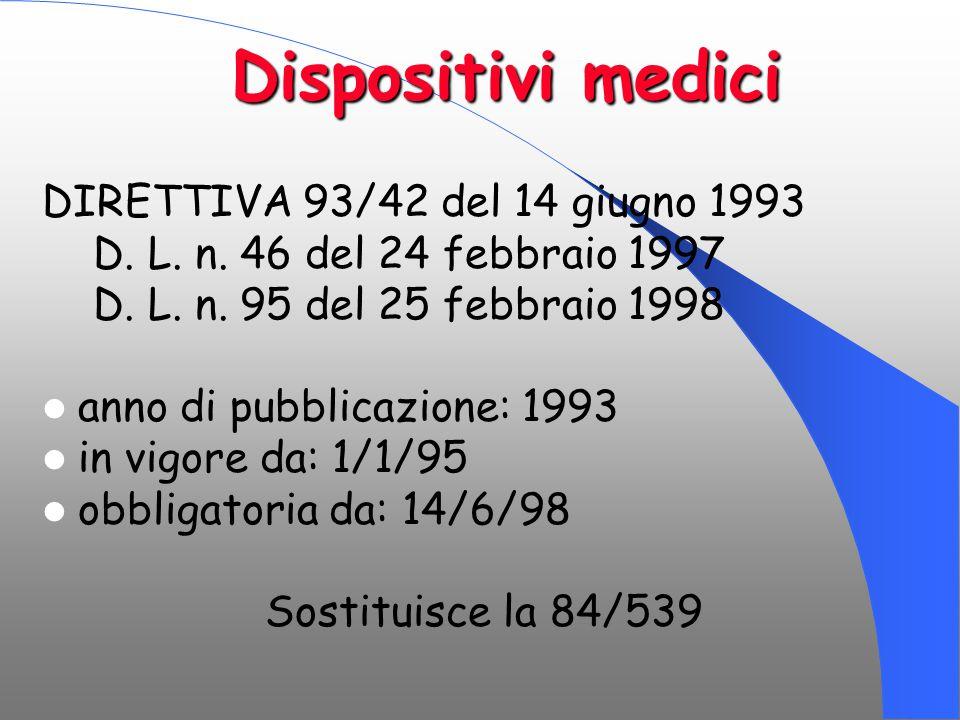Dispositivi medici Dispositivi medici DIRETTIVA 93/42 del 14 giugno 1993 D. L. n. 46 del 24 febbraio 1997 D. L. n. 95 del 25 febbraio 1998 anno di pub