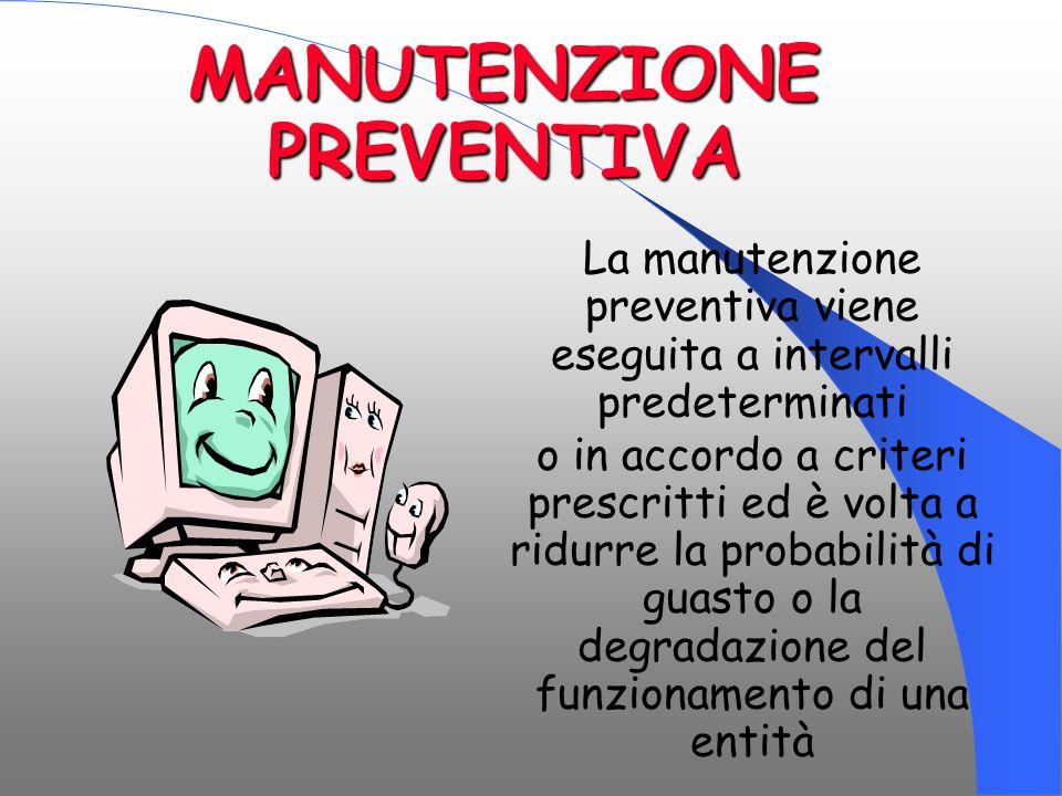 MANUTENZIONE PREVENTIVA La manutenzione preventiva viene eseguita a intervalli predeterminati o in accordo a criteri prescritti ed è volta a ridurre l