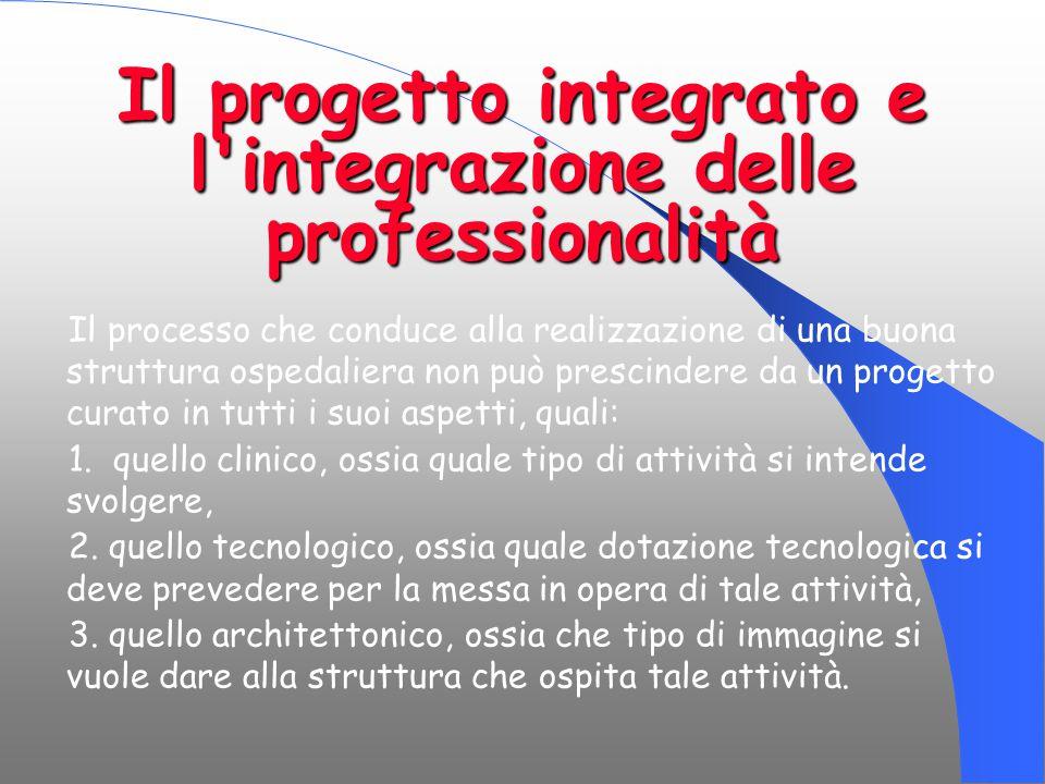 Il progetto integrato e l'integrazione delle professionalità Il processo che conduce alla realizzazione di una buona struttura ospedaliera non può pre