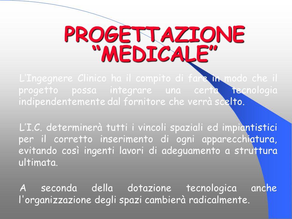 """PROGETTAZIONE """"MEDICALE"""" L'Ingegnere Clinico ha il compito di fare in modo che il progetto possa integrare una certa tecnologia indipendentemente dal"""