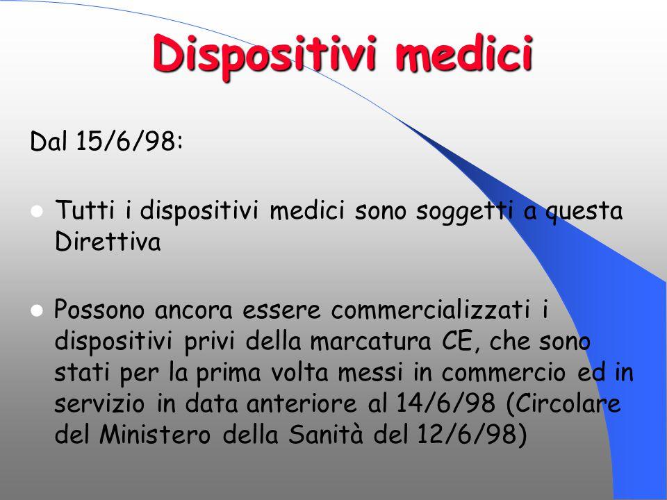 Dispositivi medici Dal 15/6/98: Tutti i dispositivi medici sono soggetti a questa Direttiva Possono ancora essere commercializzati i dispositivi privi