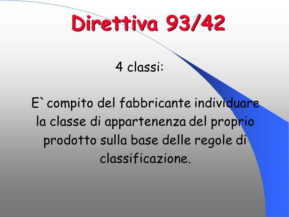 4 classi: E`compito del fabbricante individuare la classe di appartenenza del proprio prodotto sulla base delle regole di classificazione. Direttiva 9