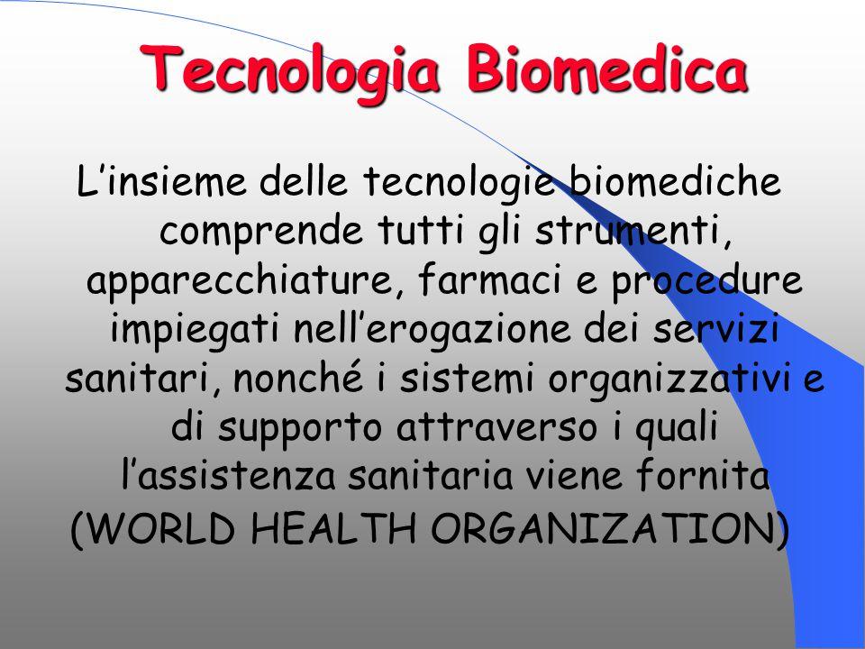 Tecnologia Biomedica L'insieme delle tecnologie biomediche comprende tutti gli strumenti, apparecchiature, farmaci e procedure impiegati nell'erogazio