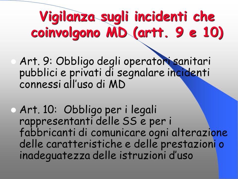 Vigilanza sugli incidenti che coinvolgono MD (artt. 9 e 10) Art. 9: Obbligo degli operatori sanitari pubblici e privati di segnalare incidenti conness