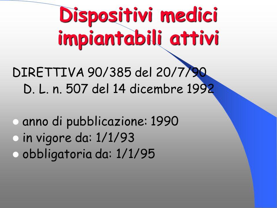 Dispositivi medici impiantabili attivi DIRETTIVA 90/385 del 20/7/90 D. L. n. 507 del 14 dicembre 1992 anno di pubblicazione: 1990 in vigore da: 1/1/93