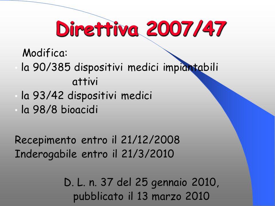 Direttiva 2007/47 Modifica: la 90/385 dispositivi medici impiantabili attivi la 93/42 dispositivi medici la 98/8 bioacidi Recepimento entro il 21/12/2