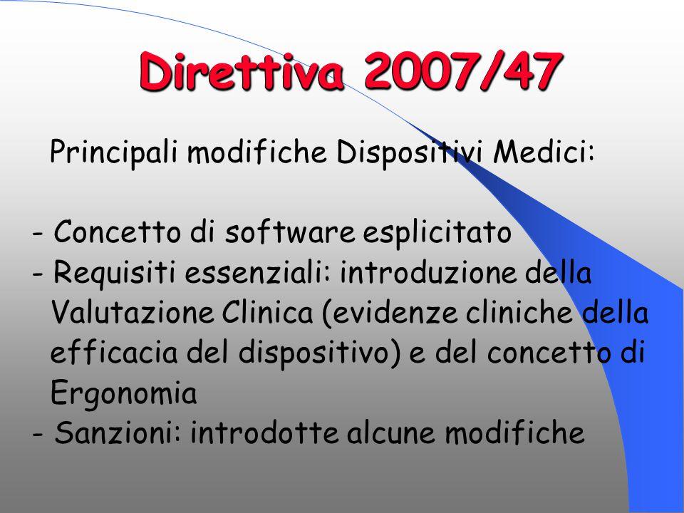 Direttiva 2007/47 Principali modifiche Dispositivi Medici: - Concetto di software esplicitato - Requisiti essenziali: introduzione della Valutazione C
