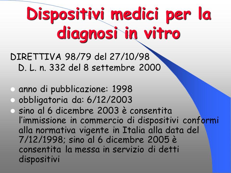 Dispositivi medici per la diagnosi in vitro DIRETTIVA 98/79 del 27/10/98 D. L. n. 332 del 8 settembre 2000 anno di pubblicazione: 1998 obbligatoria da