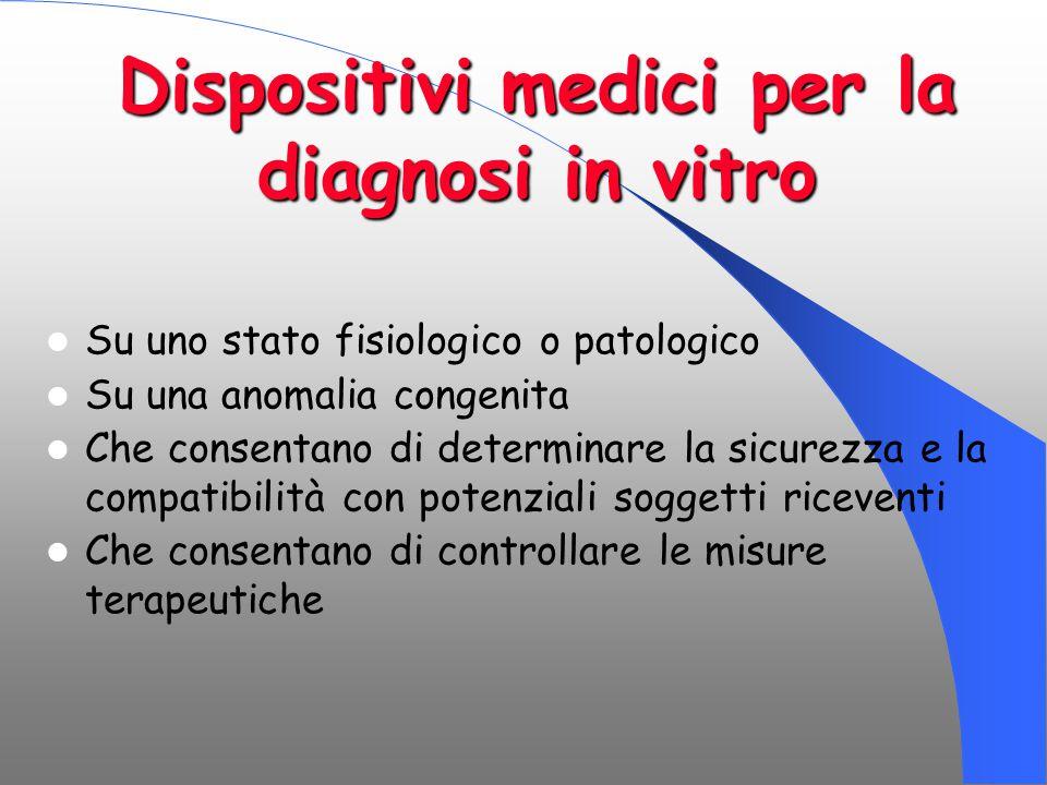 Dispositivi medici per la diagnosi in vitro Su uno stato fisiologico o patologico Su una anomalia congenita Che consentano di determinare la sicurezza