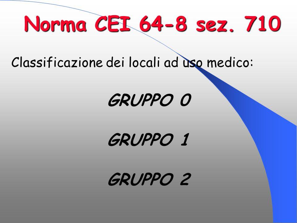 Classificazione dei locali ad uso medico: GRUPPO 0 GRUPPO 1 GRUPPO 2 Norma CEI 64-8 sez. 710