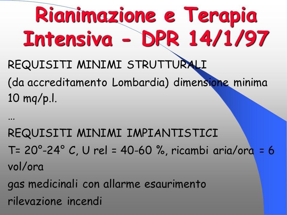 Rianimazione e Terapia Intensiva - DPR 14/1/97 REQUISITI MINIMI STRUTTURALI (da accreditamento Lombardia) dimensione minima 10 mq/p.l. … REQUISITI MIN