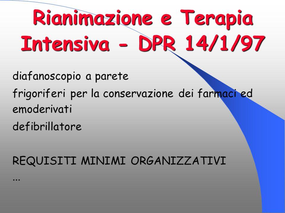 Rianimazione e Terapia Intensiva - DPR 14/1/97 diafanoscopio a parete frigoriferi per la conservazione dei farmaci ed emoderivati defibrillatore REQUI