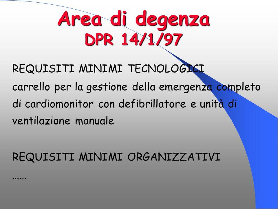 Area di degenza DPR 14/1/97 REQUISITI MINIMI TECNOLOGICI carrello per la gestione della emergenza completo di cardiomonitor con defibrillatore e unità