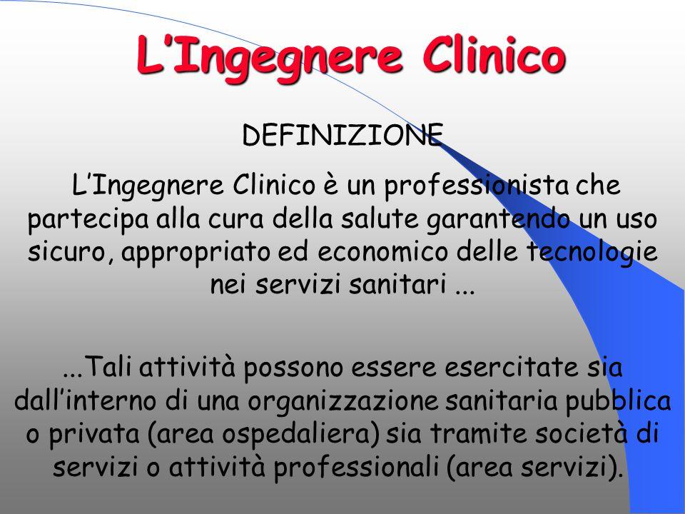 DEFINIZIONE L'Ingegnere Clinico è un professionista che partecipa alla cura della salute garantendo un uso sicuro, appropriato ed economico delle tecn