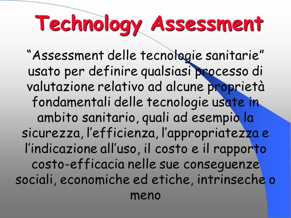 """Technology Assessment """"Assessment delle tecnologie sanitarie"""" usato per definire qualsiasi processo di valutazione relativo ad alcune proprietà fondam"""