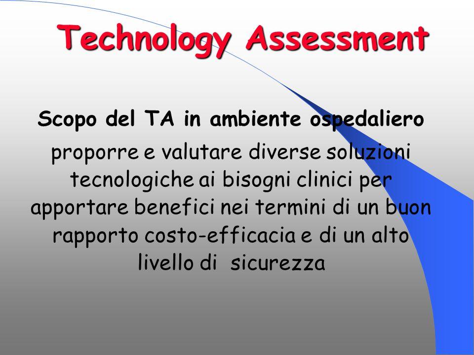 Technology Assessment Scopo del TA in ambiente ospedaliero proporre e valutare diverse soluzioni tecnologiche ai bisogni clinici per apportare benefic