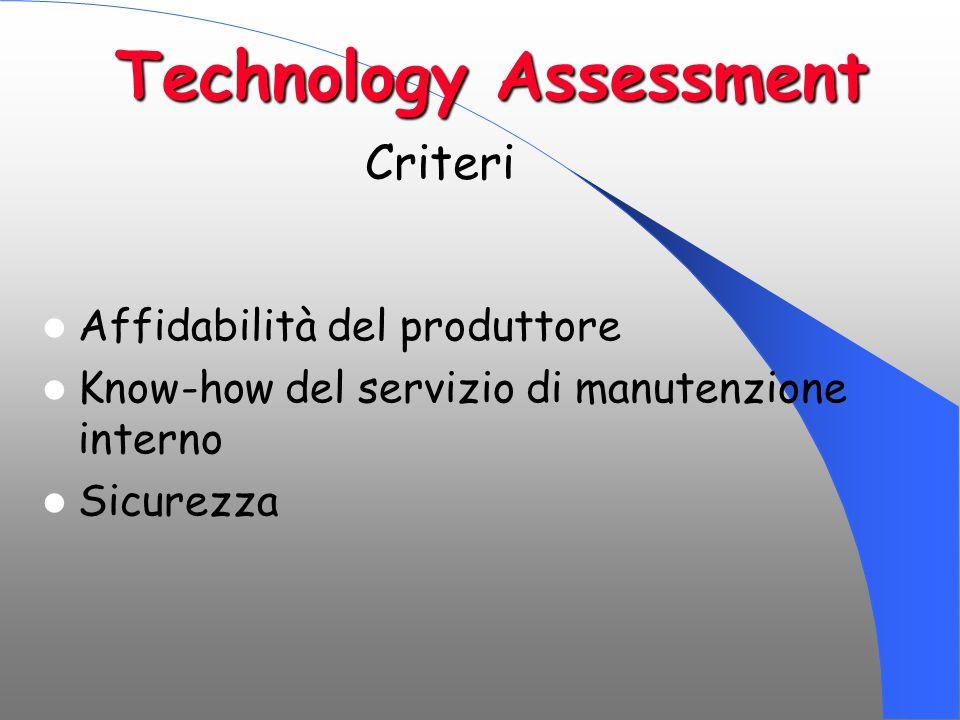 Technology Assessment Affidabilità del produttore Know-how del servizio di manutenzione interno Sicurezza Criteri