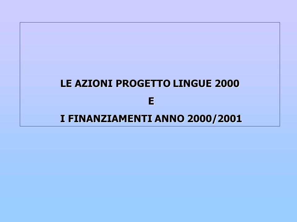 LE AZIONI PROGETTO LINGUE 2000 E I FINANZIAMENTI ANNO 2000/2001 I FINANZIAMENTI ANNO 2000/2001