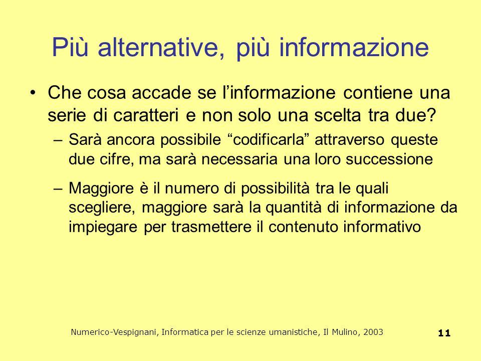 Numerico-Vespignani, Informatica per le scienze umanistiche, Il Mulino, 2003 11 Più alternative, più informazione Che cosa accade se l'informazione co