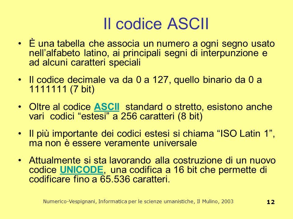 Numerico-Vespignani, Informatica per le scienze umanistiche, Il Mulino, 2003 12 Il codice ASCII È una tabella che associa un numero a ogni segno usato