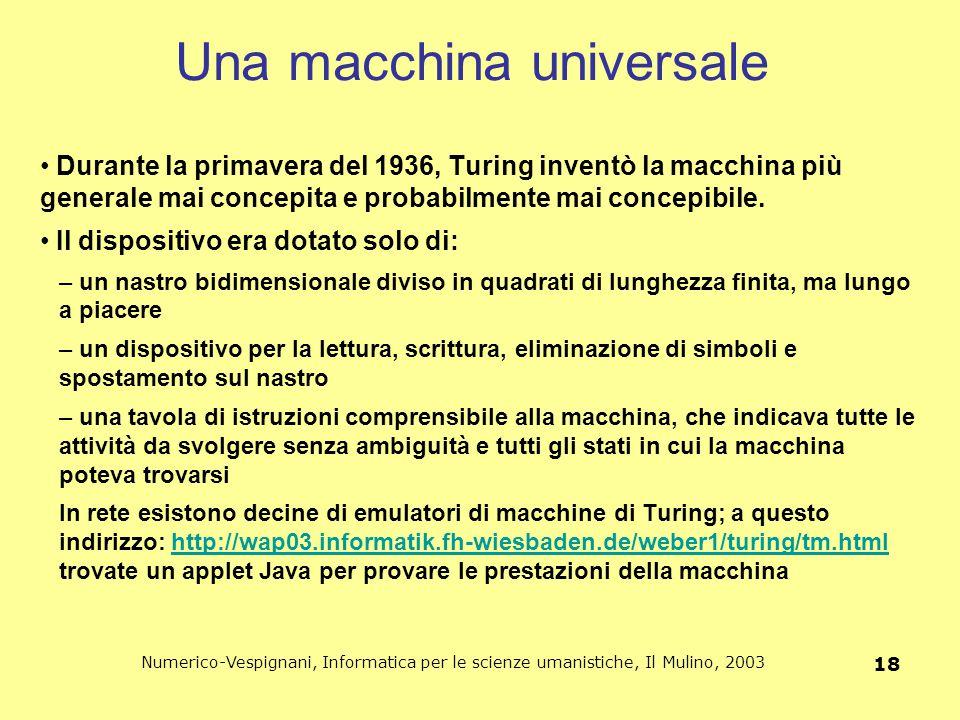 Numerico-Vespignani, Informatica per le scienze umanistiche, Il Mulino, 2003 18 Una macchina universale Durante la primavera del 1936, Turing inventò