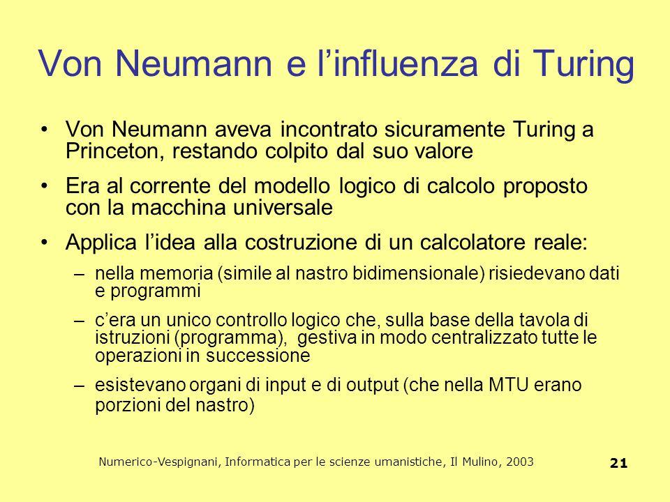 Numerico-Vespignani, Informatica per le scienze umanistiche, Il Mulino, 2003 21 Von Neumann e l'influenza di Turing Von Neumann aveva incontrato sicur