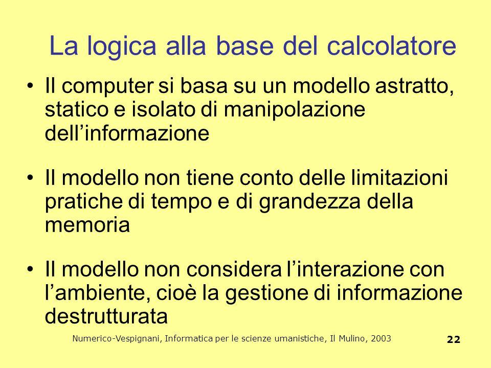 Numerico-Vespignani, Informatica per le scienze umanistiche, Il Mulino, 2003 22 La logica alla base del calcolatore Il computer si basa su un modello