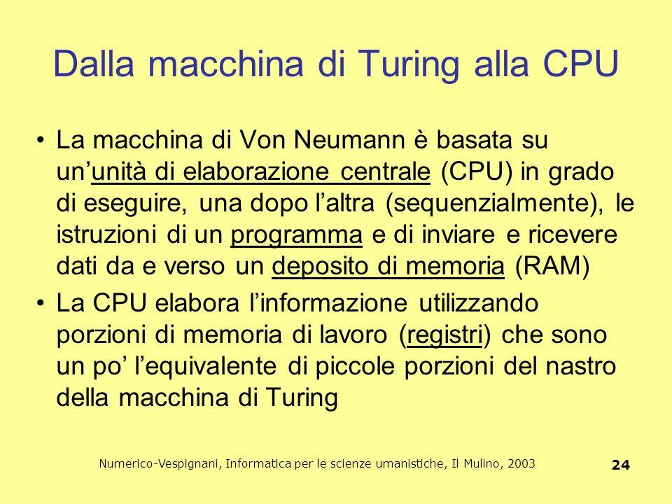 Numerico-Vespignani, Informatica per le scienze umanistiche, Il Mulino, 2003 24 Dalla macchina di Turing alla CPU La macchina di Von Neumann è basata