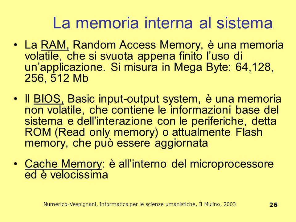 Numerico-Vespignani, Informatica per le scienze umanistiche, Il Mulino, 2003 26 La memoria interna al sistema La RAM, Random Access Memory, è una memo