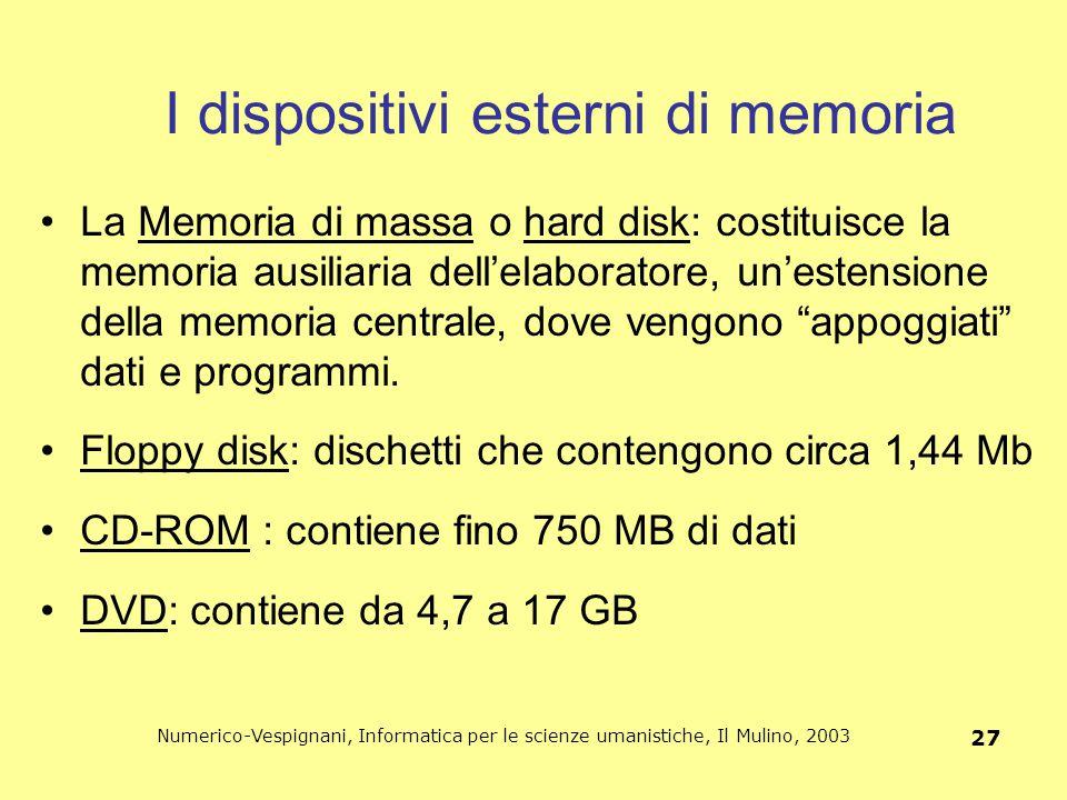 Numerico-Vespignani, Informatica per le scienze umanistiche, Il Mulino, 2003 27 I dispositivi esterni di memoria La Memoria di massa o hard disk: cost