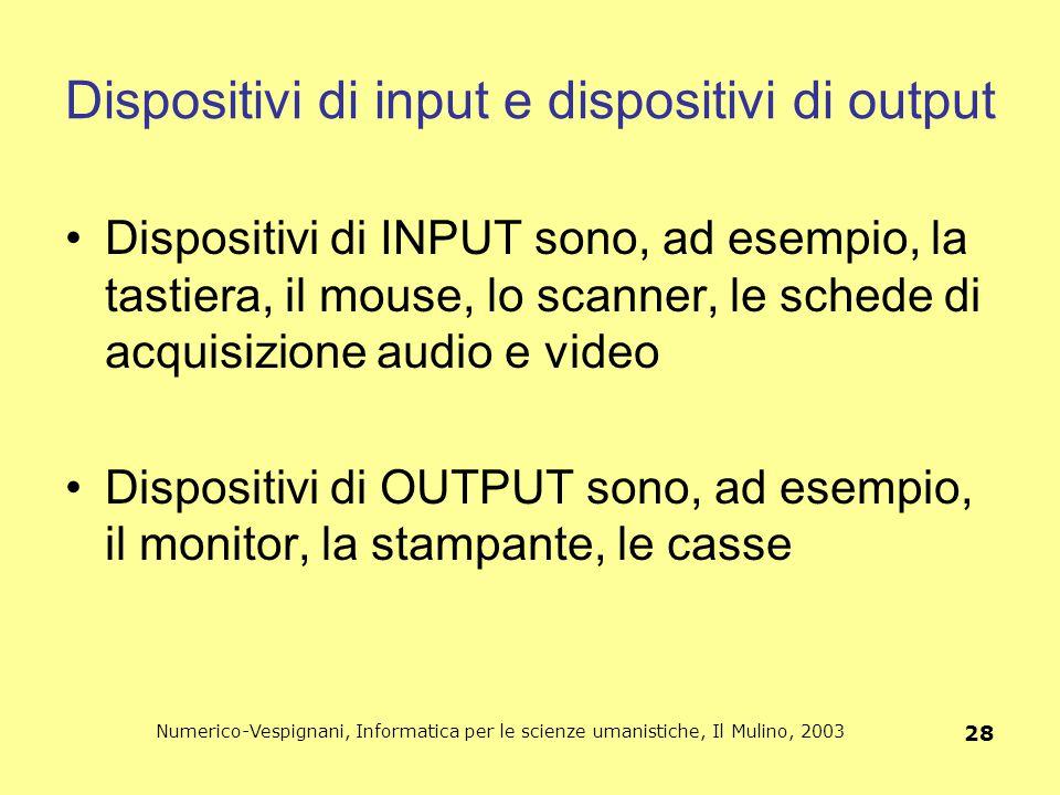 Numerico-Vespignani, Informatica per le scienze umanistiche, Il Mulino, 2003 28 Dispositivi di input e dispositivi di output Dispositivi di INPUT sono