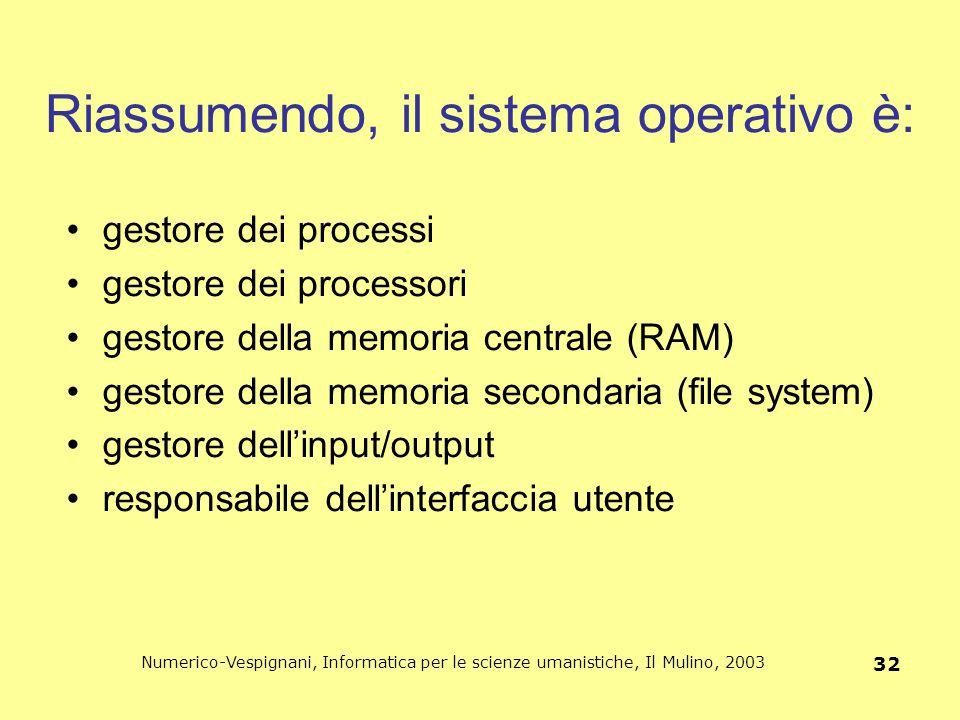 Numerico-Vespignani, Informatica per le scienze umanistiche, Il Mulino, 2003 32 Riassumendo, il sistema operativo è: gestore dei processi gestore dei