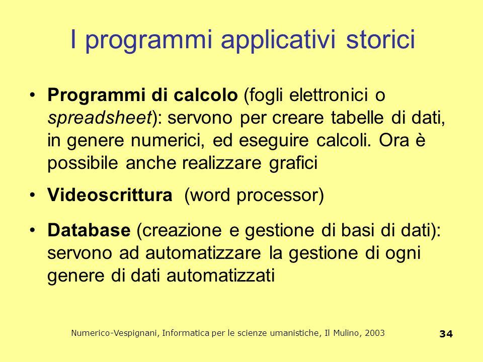 Numerico-Vespignani, Informatica per le scienze umanistiche, Il Mulino, 2003 34 I programmi applicativi storici Programmi di calcolo (fogli elettronic
