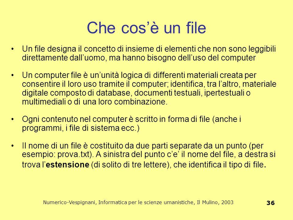 Numerico-Vespignani, Informatica per le scienze umanistiche, Il Mulino, 2003 36 Che cos'è un file Un file designa il concetto di insieme di elementi c