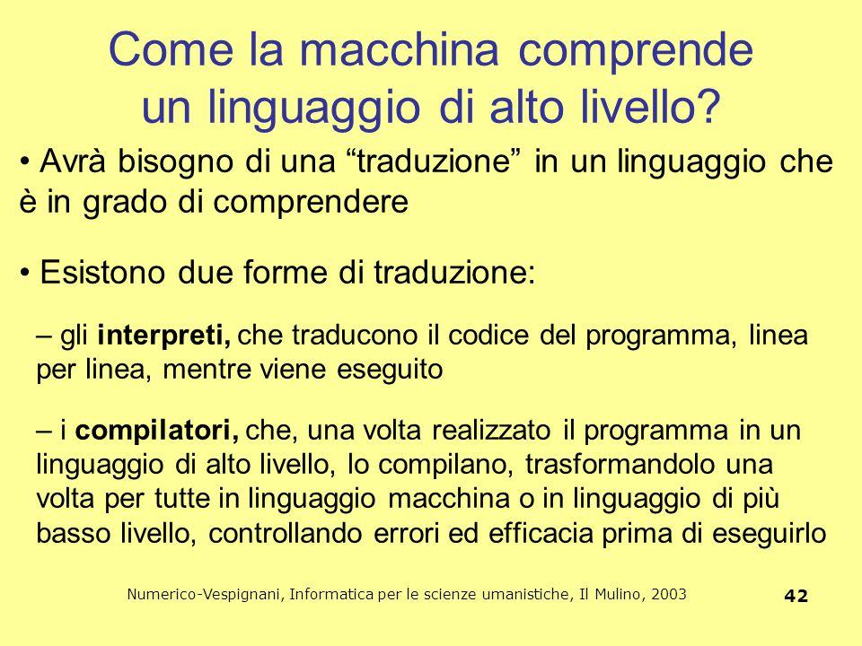 Numerico-Vespignani, Informatica per le scienze umanistiche, Il Mulino, 2003 42 Come la macchina comprende un linguaggio di alto livello? Avrà bisogno