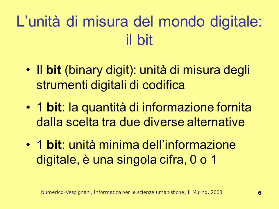 Numerico-Vespignani, Informatica per le scienze umanistiche, Il Mulino, 2003 6 L'unità di misura del mondo digitale: il bit Il bit (binary digit): uni
