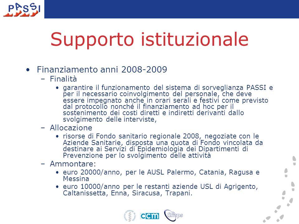 Supporto istituzionale Finanziamento anni 2008-2009 –Finalità garantire il funzionamento del sistema di sorveglianza PASSI e per il necessario coinvol
