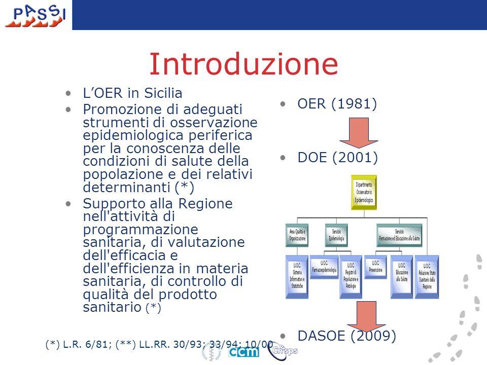 Contesto istituzionale regionale Partecipazione a PASSI 2005 Adesione (6 settembre 2006) OER: coordinamento regionale –(art.