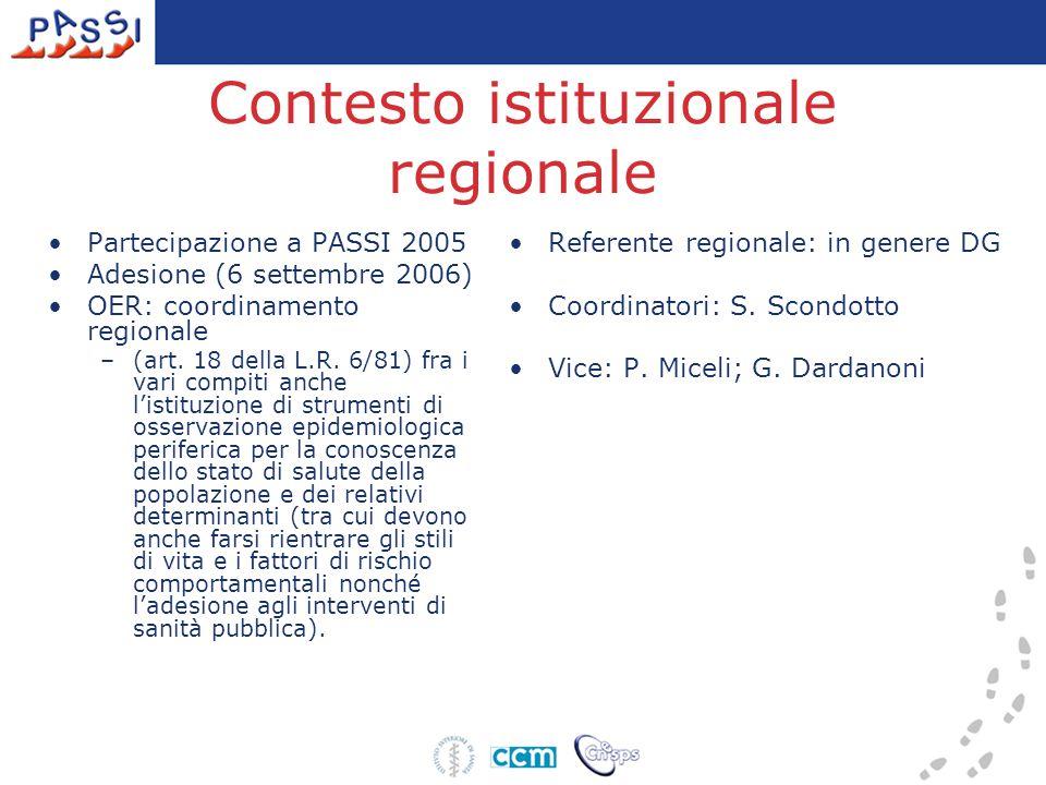 Contesto istituzionale regionale Partecipazione a PASSI 2005 Adesione (6 settembre 2006) OER: coordinamento regionale –(art. 18 della L.R. 6/81) fra i