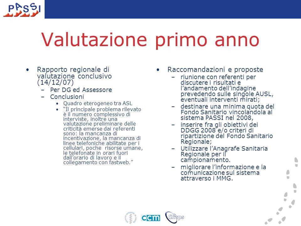 """Rapporto regionale di valutazione conclusivo (14/12/07) –Per DG ed Assessore –Conclusioni Quadro eterogeneo tra ASL """"Il principale problema rilevato è"""