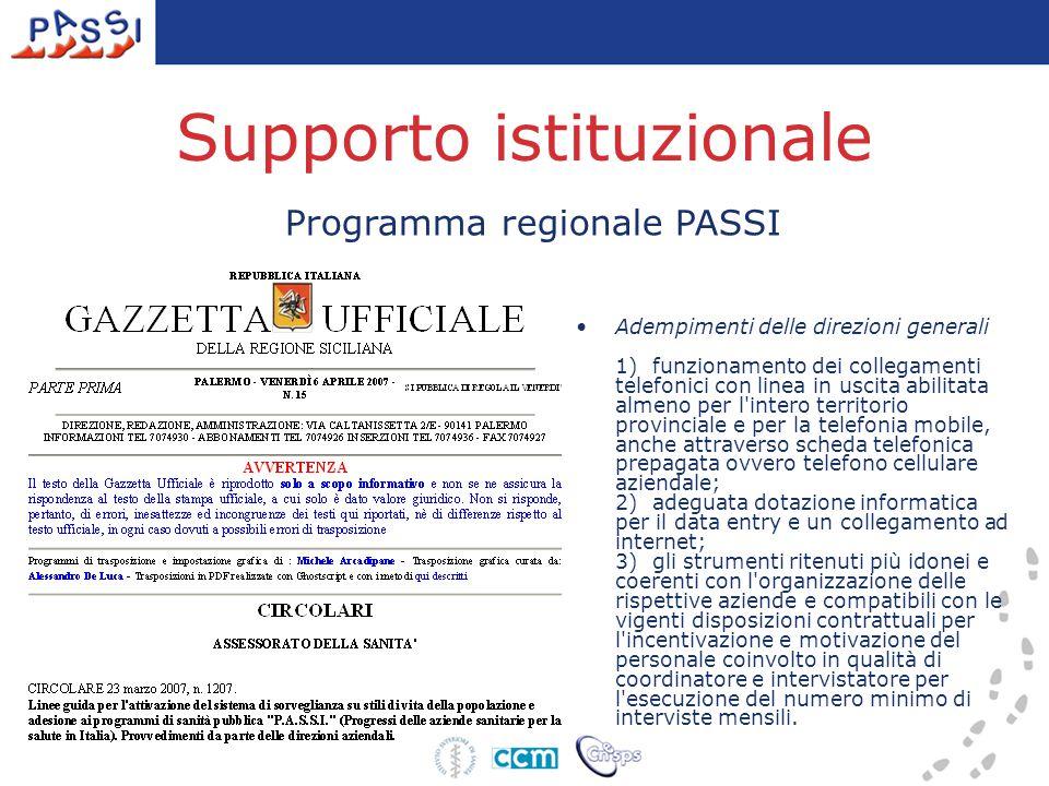 Supporto istituzionale Programma regionale PASSI Adempimenti delle direzioni generali 1) funzionamento dei collegamenti telefonici con linea in uscita