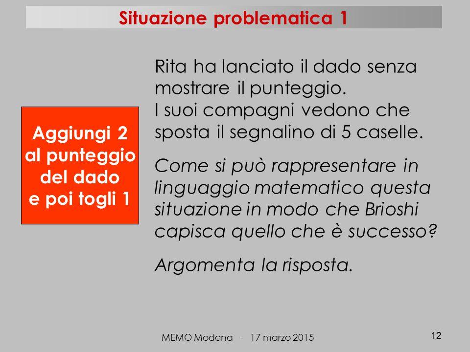MEMO Modena - 17 marzo 2015 12 Aggiungi 2 al punteggio del dado e poi togli 1 Rita ha lanciato il dado senza mostrare il punteggio. I suoi compagni ve
