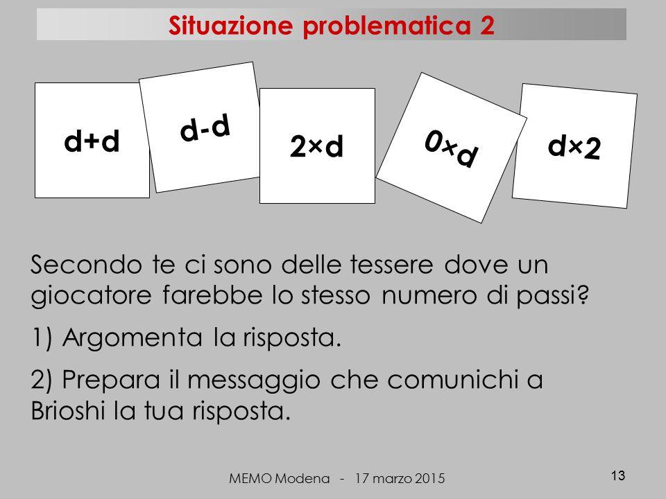 MEMO Modena - 17 marzo 2015 13 d+d d×2 d-d 2×d 0×d Secondo te ci sono delle tessere dove un giocatore farebbe lo stesso numero di passi? 1) Argomenta