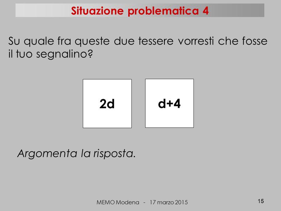 MEMO Modena - 17 marzo 2015 15 2d d+4 Su quale fra queste due tessere vorresti che fosse il tuo segnalino? Argomenta la risposta. Situazione problemat