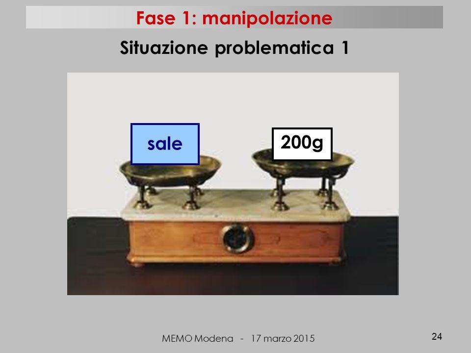 MEMO Modena - 17 marzo 2015 24 Situazione problematica 1 sale 200g Fase 1: manipolazione