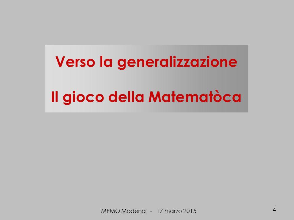 Verso la generalizzazione Il gioco della Matematòca MEMO Modena - 17 marzo 2015 4