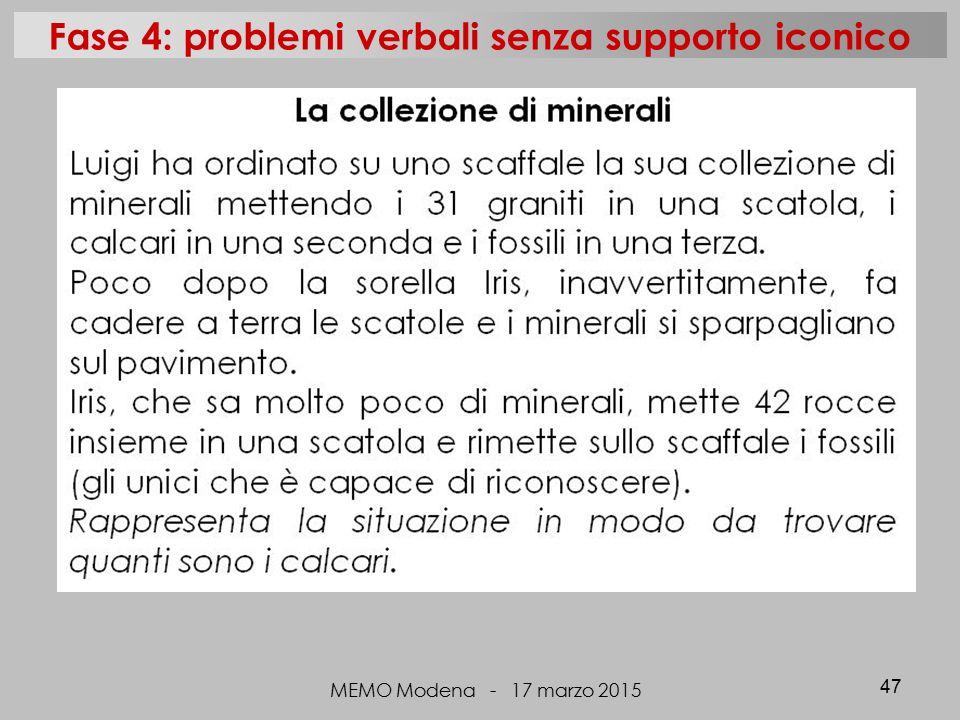 MEMO Modena - 17 marzo 2015 47 Fase 4: problemi verbali senza supporto iconico