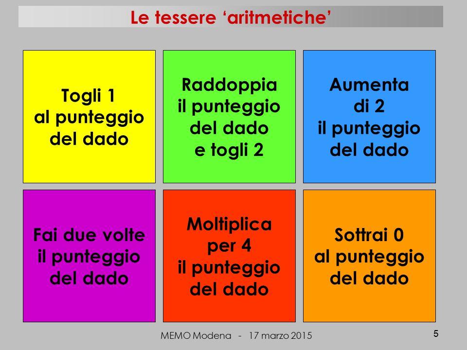 Le tessere 'aritmetiche' MEMO Modena - 17 marzo 2015 5 Togli 1 al punteggio del dado Moltiplica per 4 il punteggio del dado Raddoppia il punteggio del