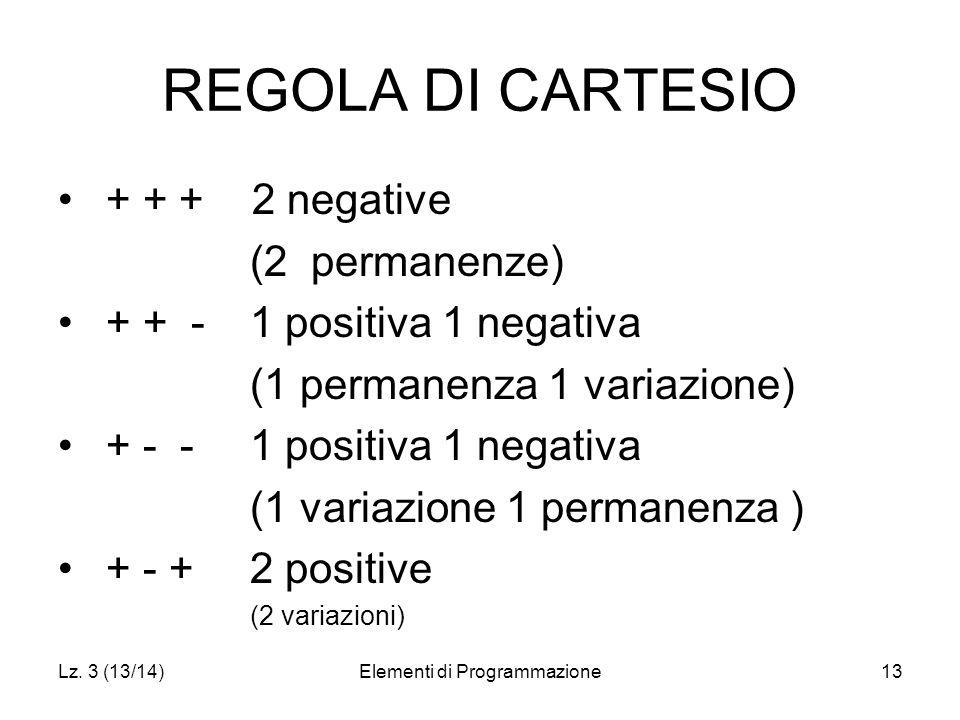 Lz. 3 (13/14)Elementi di Programmazione13 REGOLA DI CARTESIO + + + 2 negative (2 permanenze) + + -1 positiva 1 negativa (1 permanenza 1 variazione) +